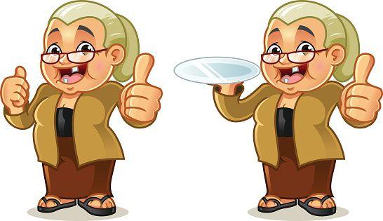 Javanese mascot cartoon vector. Kindness clipart grandma