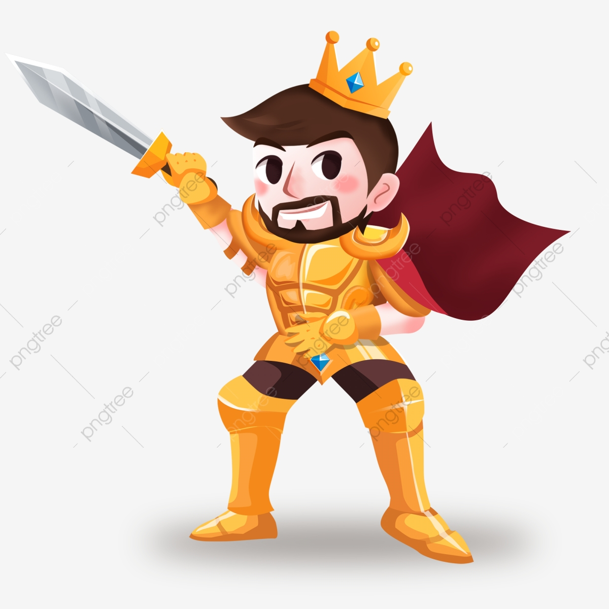 Cartoon armor holding sword. King clipart handsome