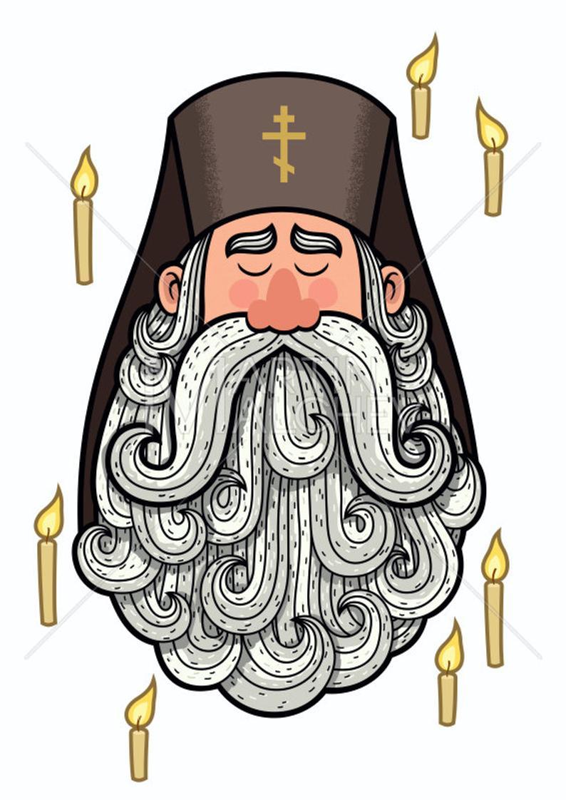 Orthodox priest vector cartoon. King clipart patriarch