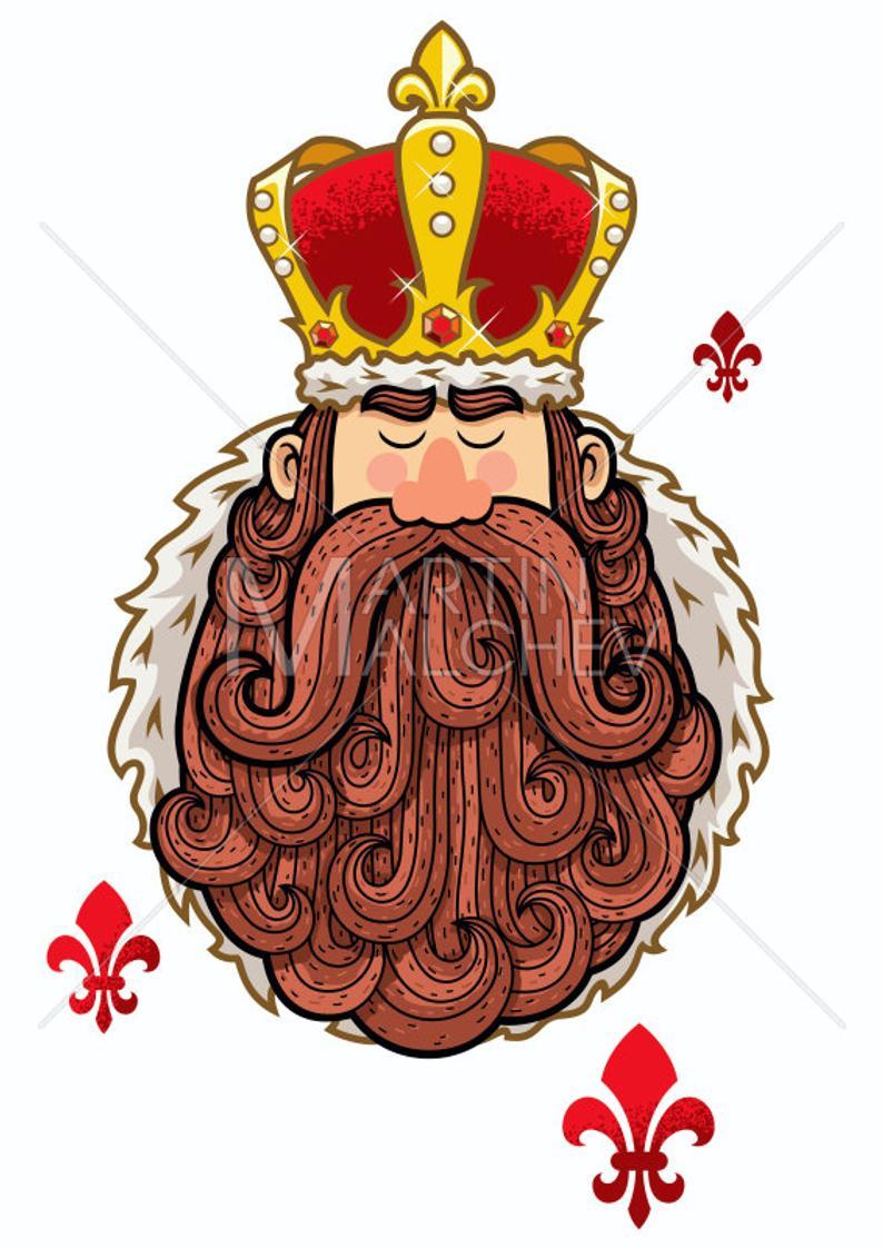 Portrait vector cartoon illustration. King clipart ruler