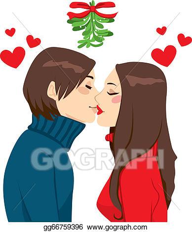 Vector art mistletoe drawing. Kiss clipart christmas kiss