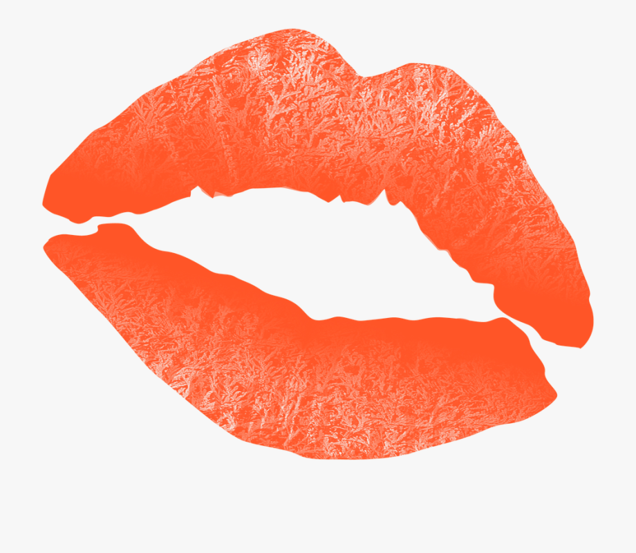 Lip clipart coral lip. Lips with orange lipstick