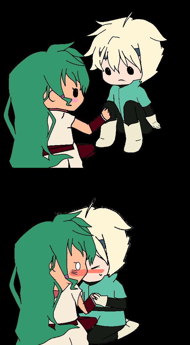Kiss clipart cute. Chibi lief and jasmine