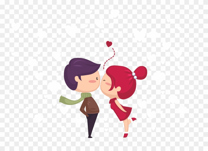 Young happy valentines day. Kiss clipart cute