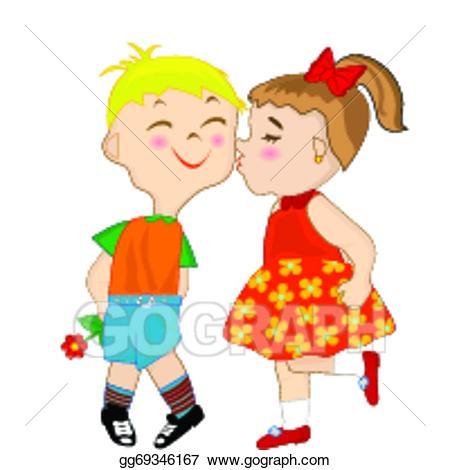 Kiss clipart kiss on cheek. Vector stock girl giving
