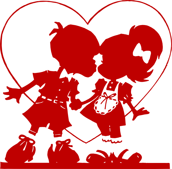 Red valentine clip art. Kiss clipart large