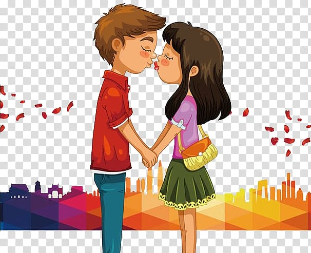 Kiss clipart man. Boy and girl kissing