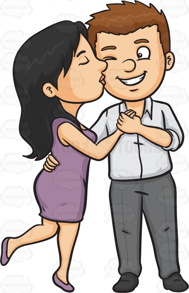 And woman kissing station. Kiss clipart man
