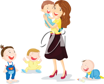 Iclipart illustration of four. Kiss clipart mom two kid