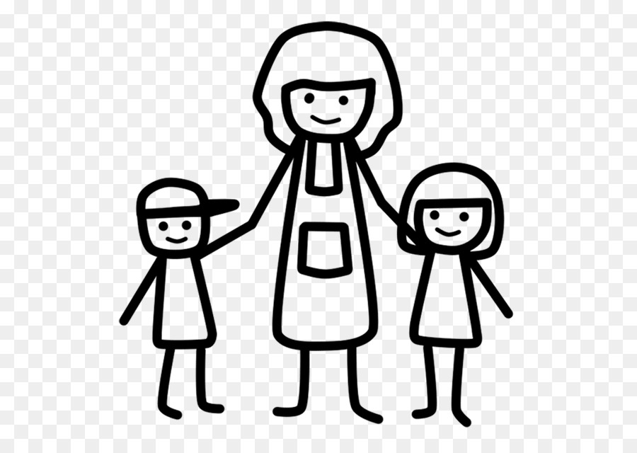 Mother cartoon child family. Kiss clipart mom two kid