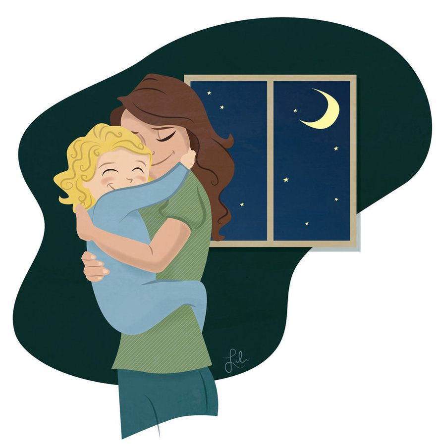 Hug illustrations and more. Mother clipart good night