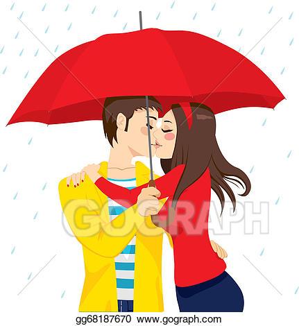 Kiss clipart sweet. Vector art under umbrella