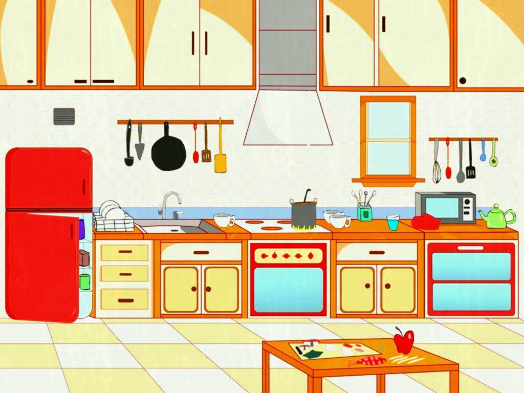 Kitchen clipart. Pin scene pencil and