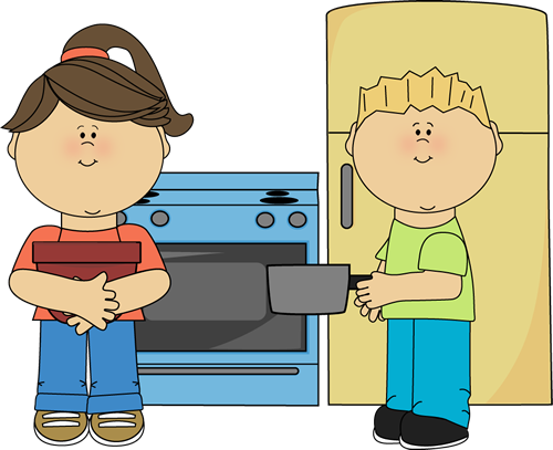 Family time in the. Baking clipart boy