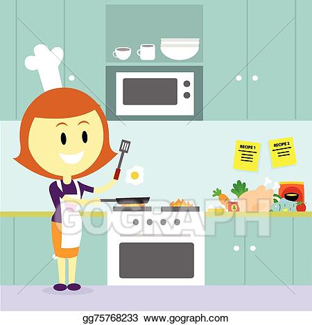 Vector art mom cooking. Kitchen clipart