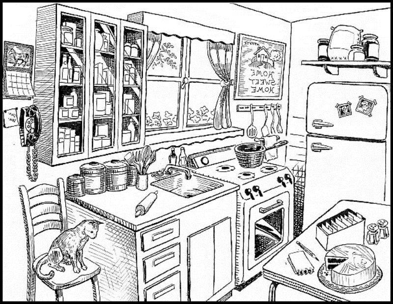 Kitchen clipart black and white. Clean modern home decor