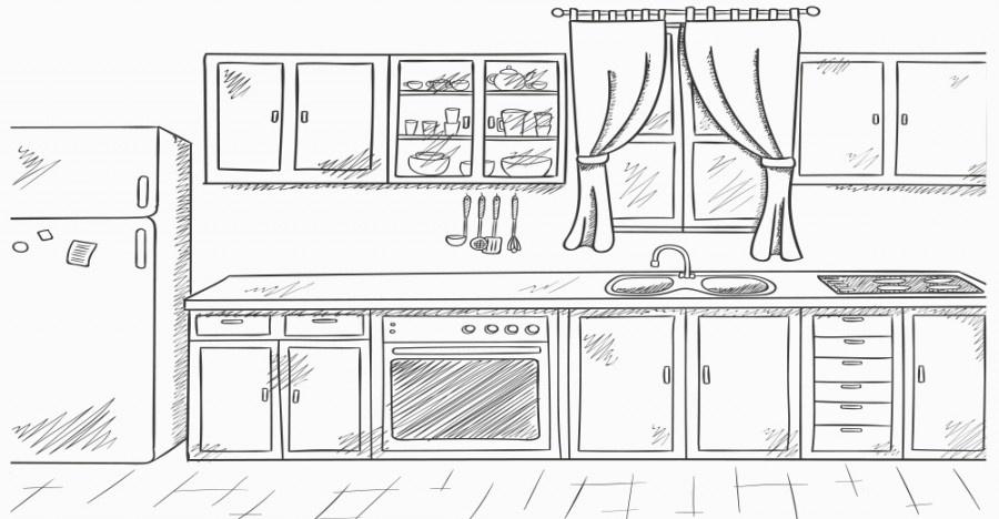 Of clip art . Kitchen clipart black and white