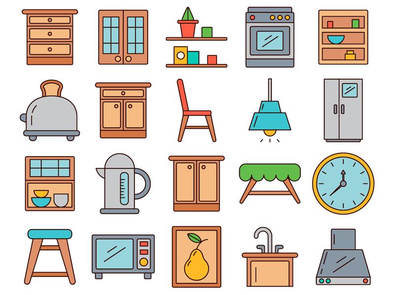 Furniture and equipment vector. Kitchen clipart kitchen unit