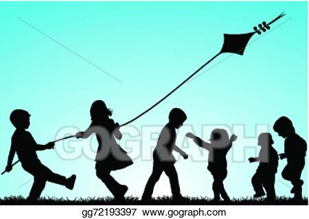 Vector illustration of children. Kite clipart group