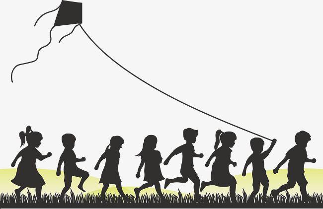 Children who fly kites. Kite clipart group