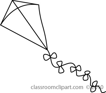 Black and white cliparts. Kite clipart jpeg