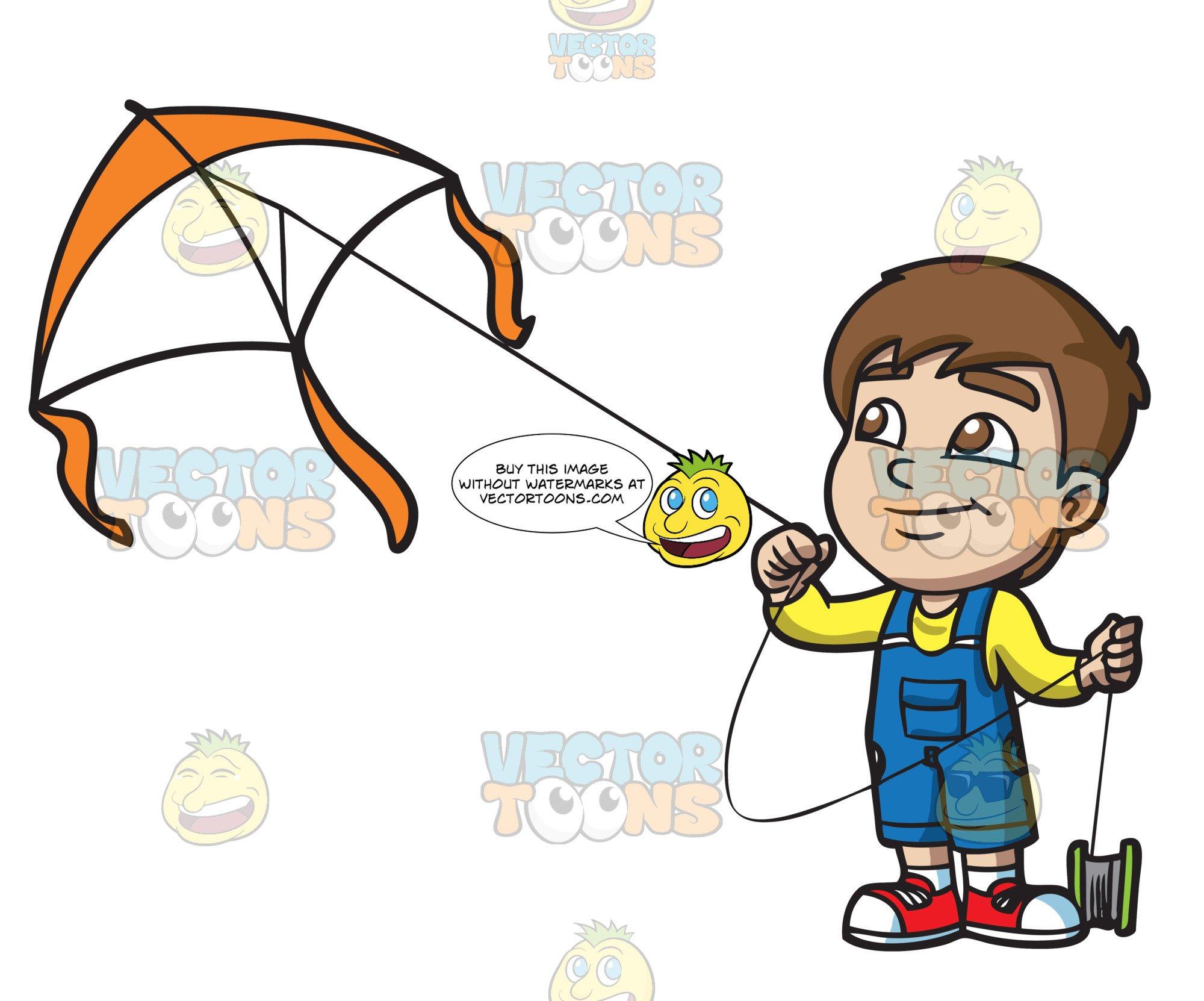 A happy boy flying. Kite clipart kite thread