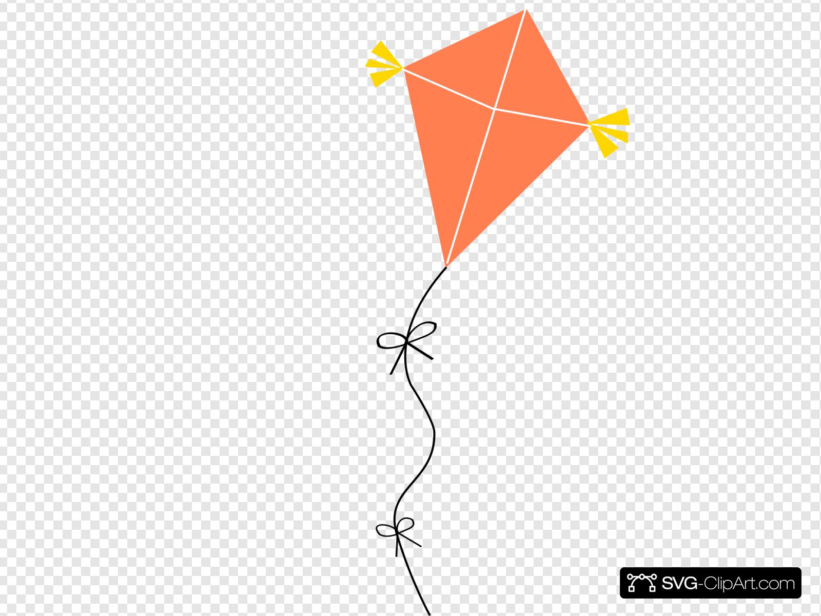Kite clipart orange. Clip art icon and