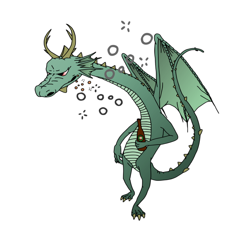 Drunk dragons and illustrators. Tired clipart dragon