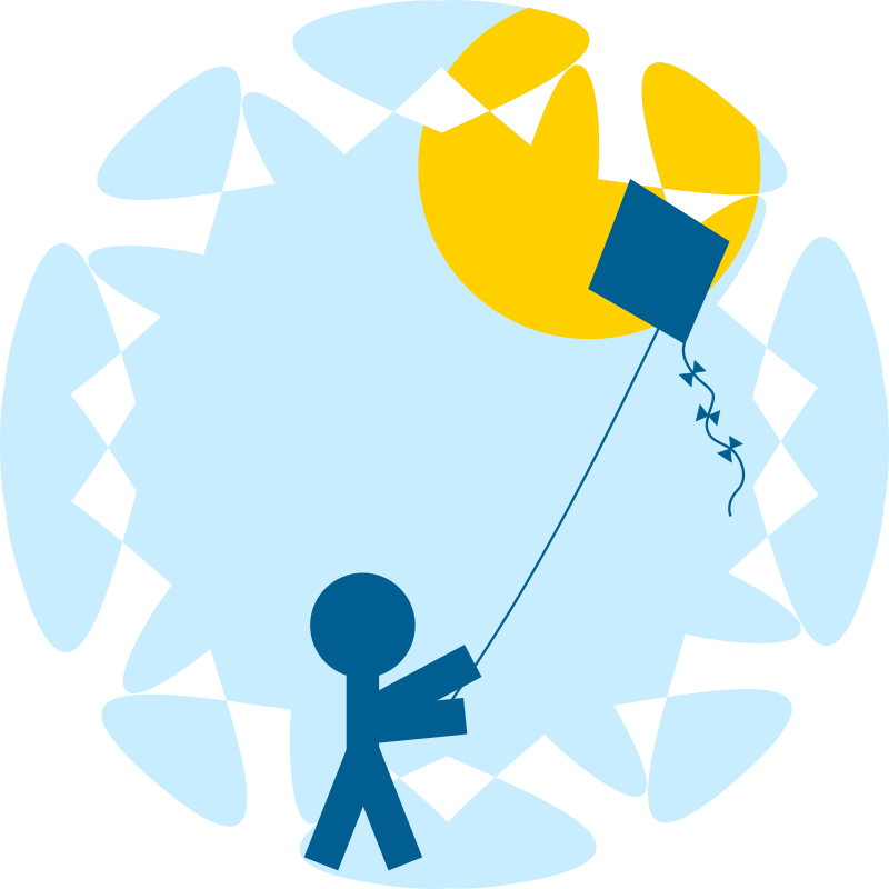 Child with a medium. Kite clipart vector
