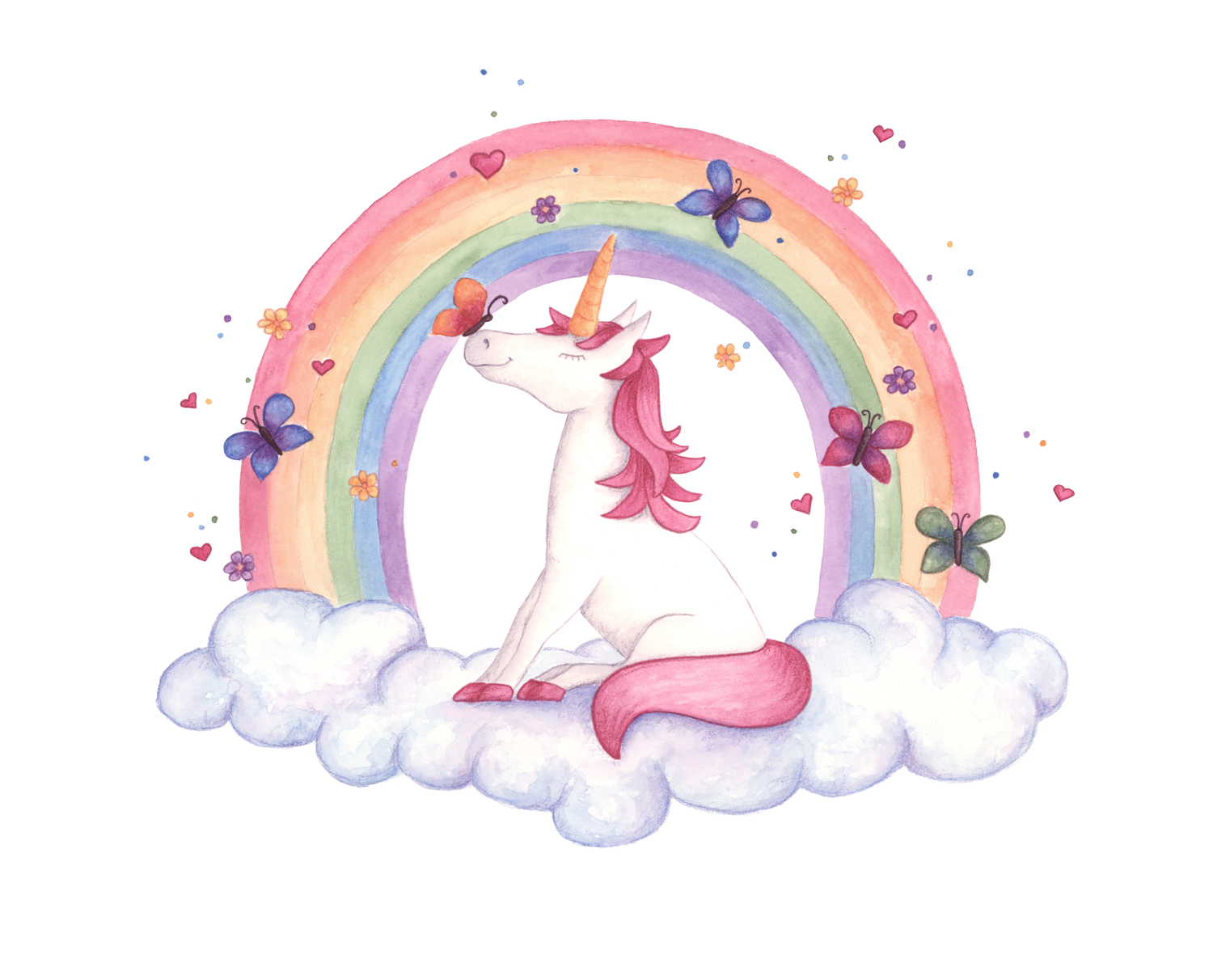 Watercolour unicorn illustration by. Kite clipart watercolor