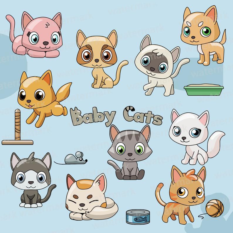 Cat cats kittens clip. Pet clipart kitten