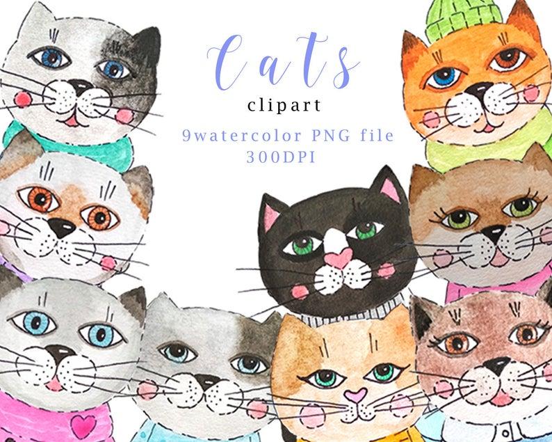 Watercolor cute cats illustration. Kitten clipart 9 cat