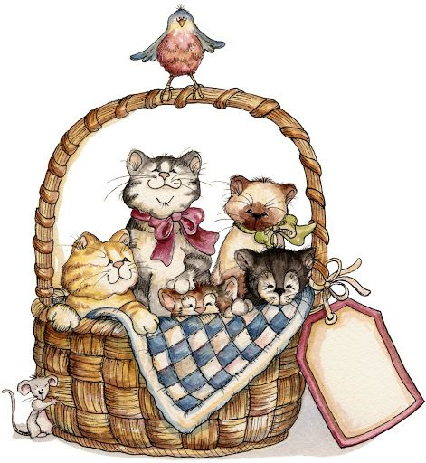 Kitten clipart basket painting. Laurie furnell a full