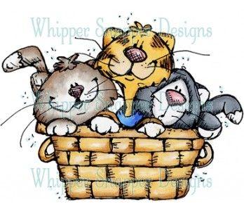 Full of kittens stamps. Kitten clipart basket painting