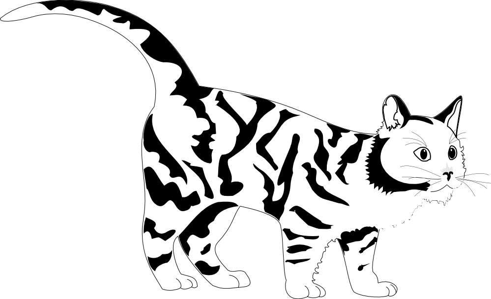 Kittens clipart black and white. Cat tiger clip art