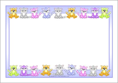 Cats a page borders. Kittens clipart border