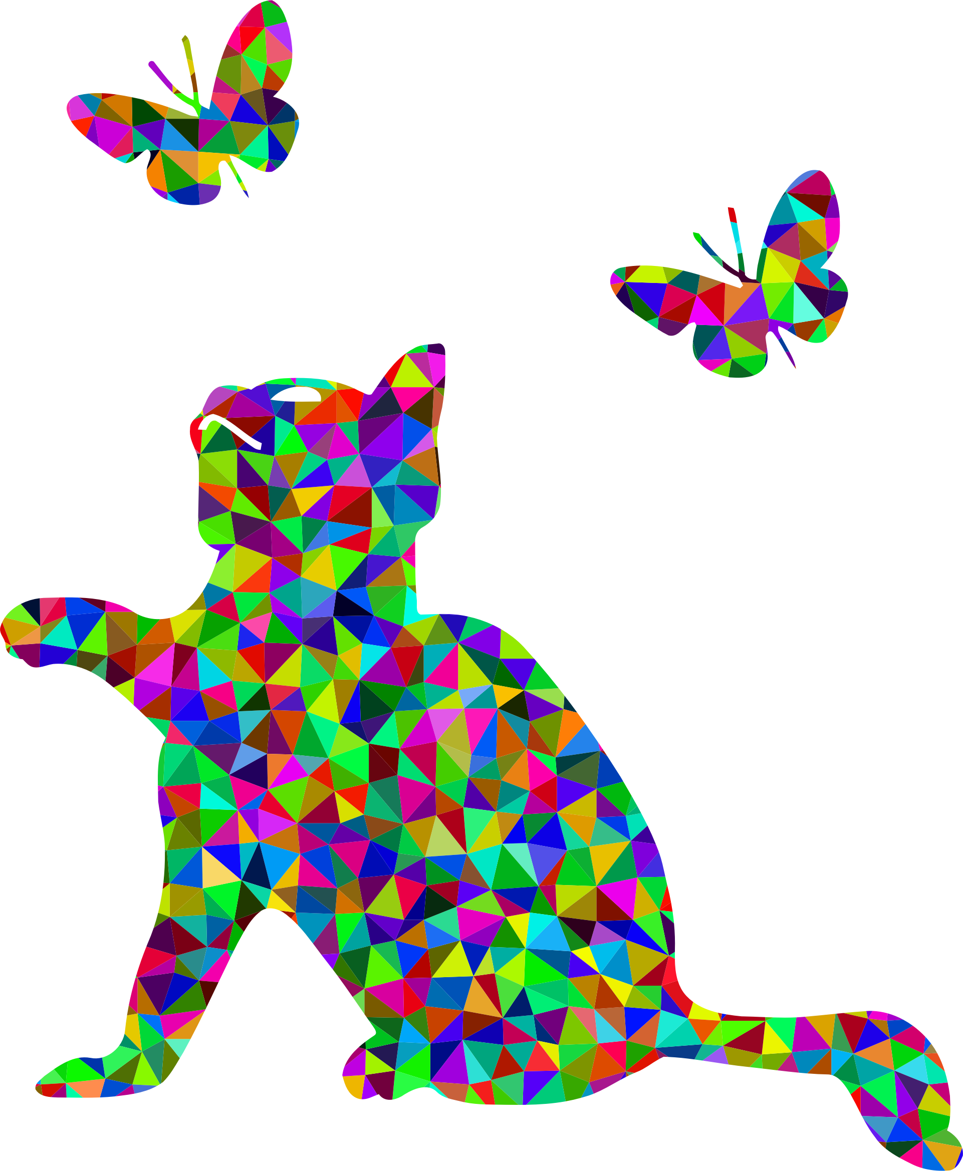 Kitten clipart butterfly. Prismatic low poly playing