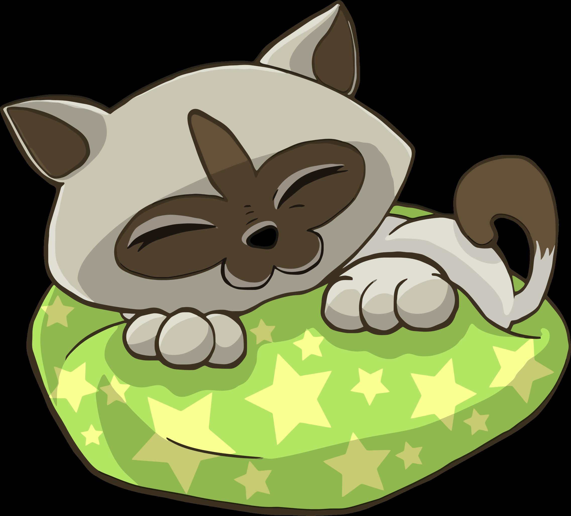 Kitten clipart cartoon. Sleeping on starry pillow