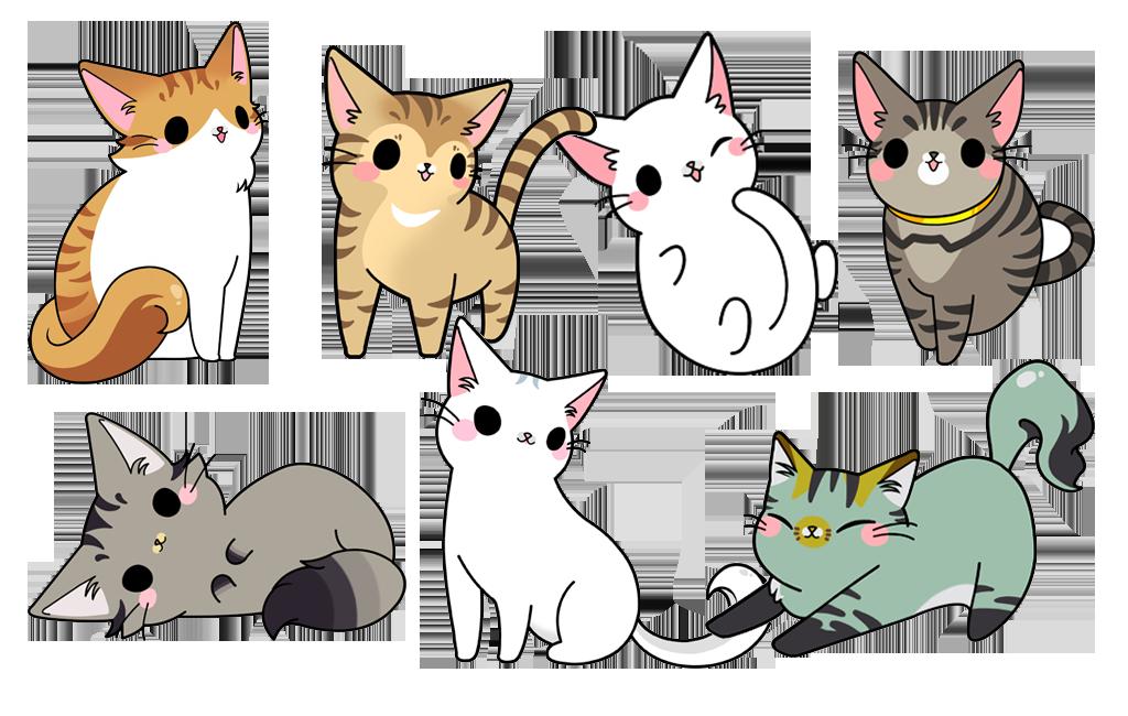 Kittens clipart cat family. Cartoon illustration hand drawn