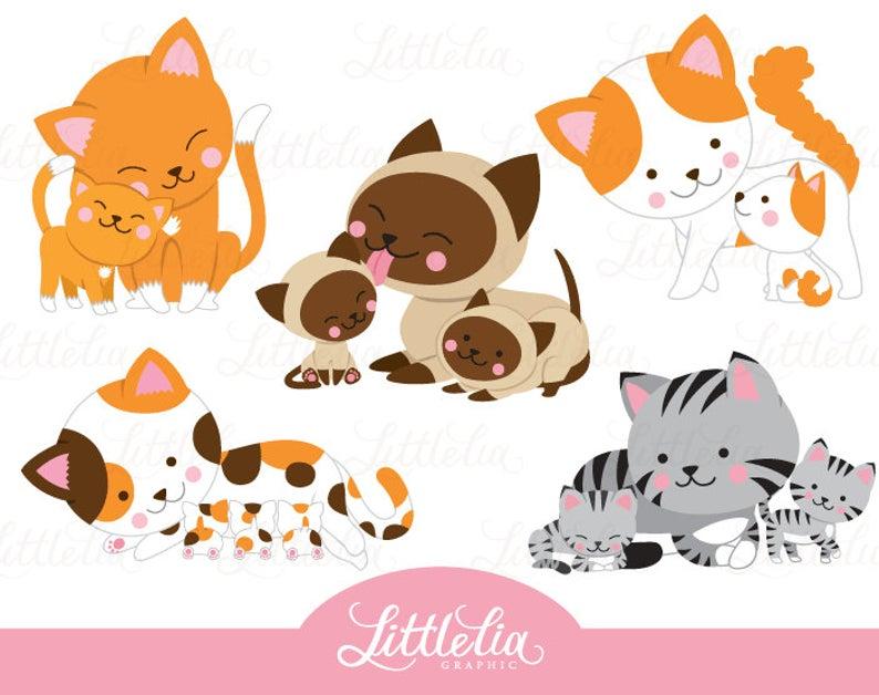Kittens clipart cat family. Mom and kitten