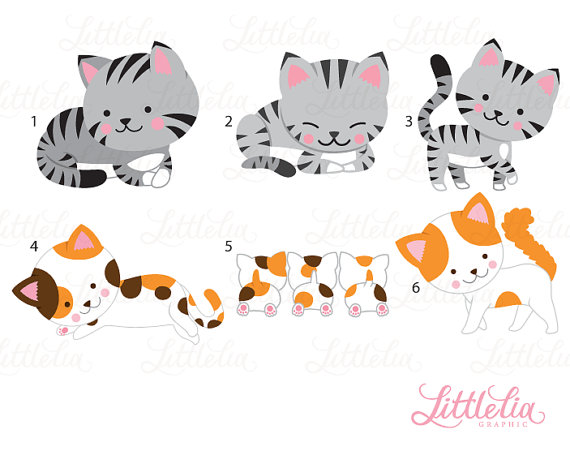 Mom and kitten products. Kittens clipart cat family