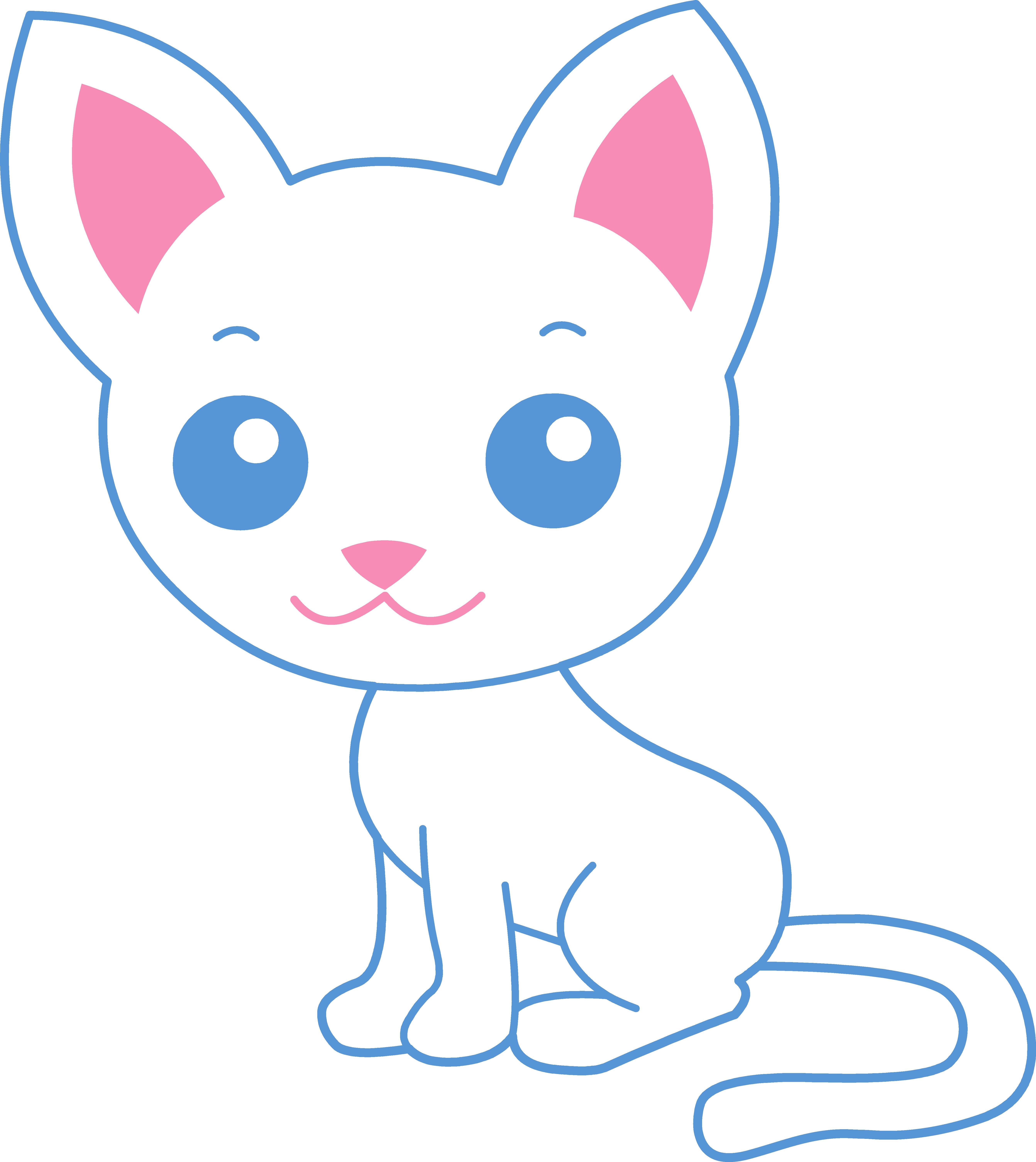 Kitten clipart cat sat. Cute white kitty free
