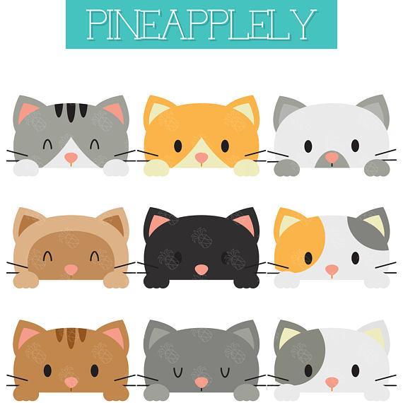 Peeking cats peeping kitties. Kittens clipart cate