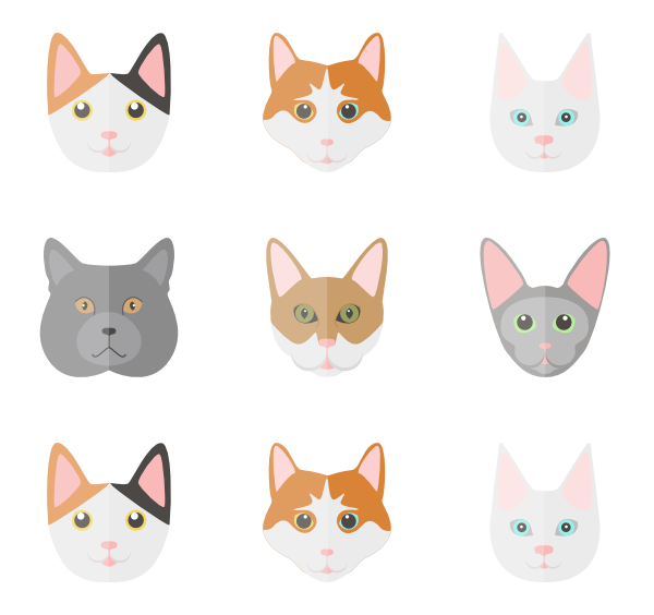 Kittens clipart catl. Cat icons free vector