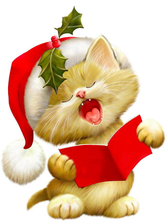 Kitty clipart christmas. Fah lalalala picture of