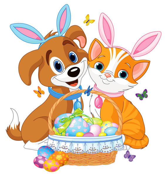 Cute puppy and kitten. Kitty clipart easter