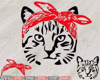 Head whit bandana silhouette. Kittens clipart farm cat