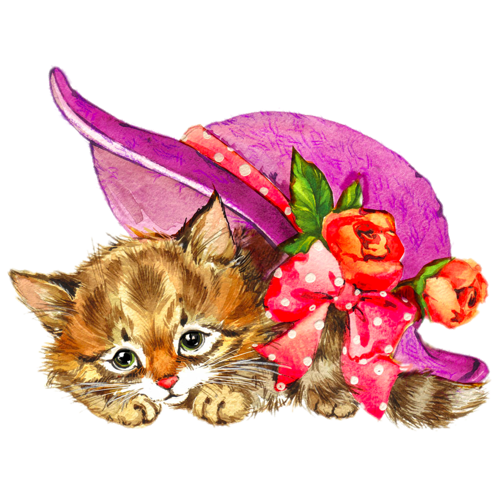 Cat watercolour flowers watercolor. Kitten clipart flower