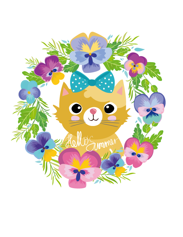 Cat cartoon wreath kitten. Kittens clipart flower