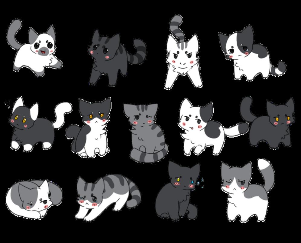 Kittens clipart gray cat. Grayscale neko atsume fanart